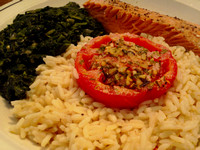 Coho Salmon,, Rice, Spinach, Tomato w/Rosemary Seasoning & Blue Cheese Topping