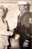 Dianne's cousin Benjamin Suber (right) receiving congratulations! - (not a Pearl Harbor photo).
